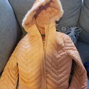 Bebe womens winter jacket tangerine color size S